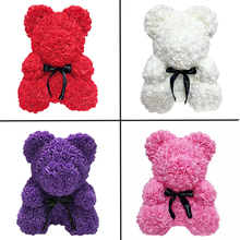 2019 Valentines Day Gift 25cm Red Bear Rose Teddy Flower Artificial Decoration Christmas Gifts Women