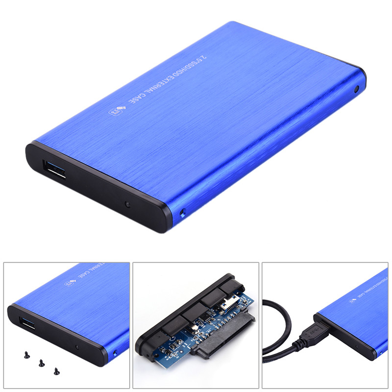 2.5 Inch USB3.0 SDD / HDD Aluminum Alloy SATA3.0 External Hard Disk Drive Enclosure Support Maximum 3TB UASP Protocol Disco Duro