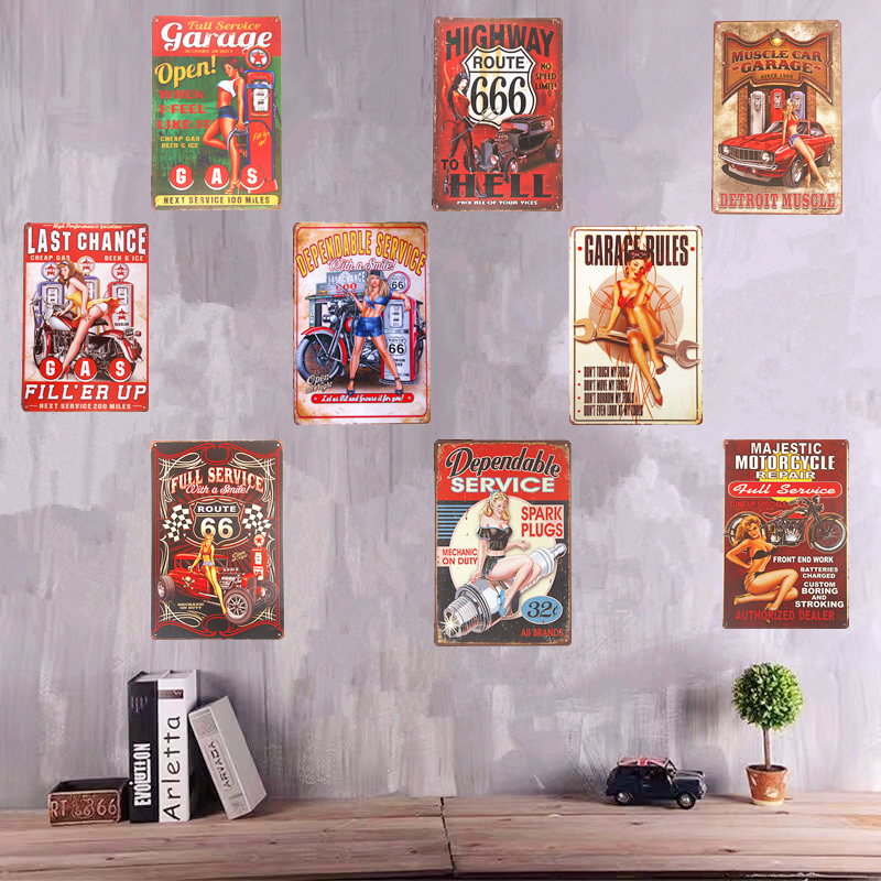Vintage metalen Tin teken Pin-up Girl Art Poster bier Pub Art Poster Restaurant Bar koffie Garage muur Stickers decoratie