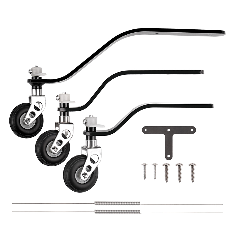 1Set Carbon Fiber Tail Landing Gear Support+PU Wheel Steering Kit For 26CC/50CC/100CC Gasoline Engine Fixed Wing Airplane Model image