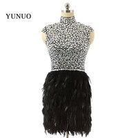 Черные перья блестящими кристаллами Роскошные Бальные платья Короткие высокого Средства ухода за кожей шеи Мини Key Hole сзади Вечерние плать