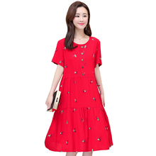 Plus size S-6XL new summer women cotton silk dress plant flower embroidered casual loose beach