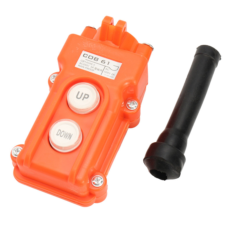 1PC COB-61 Crane Pendant Control Push Button Switch Hoist Station Up-Down Rainproof Button Switch Emergency Switch Free Shipping
