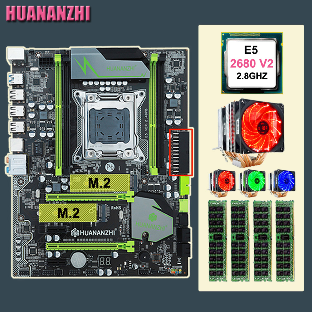 Computer DIY HUANANZHI X79 Pro motherboard with dual M.2 slot discount mobo with CPU Xeon E5 <font><b>2680</b></font> V2 cooler RAM 64G(4*16G) RECC image