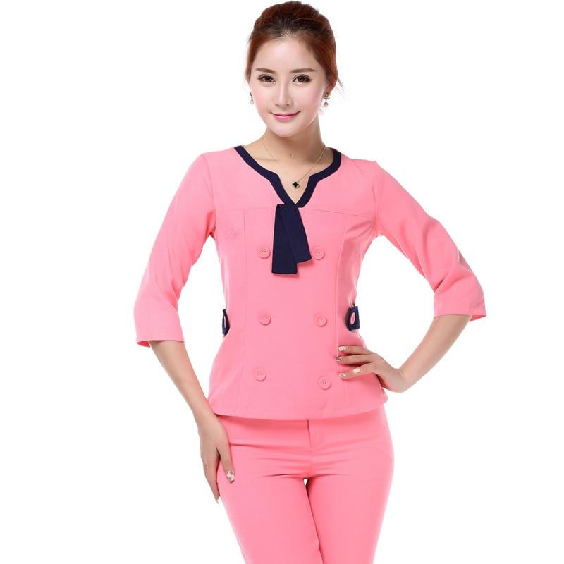 Women fashion brand new pink scrub uniform nurse work wear for Spa uniform policy