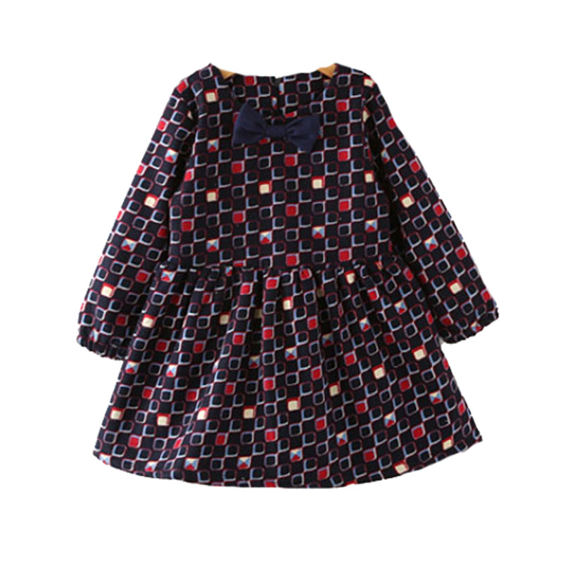 Baby girl dress plaid winter 2016 little dresses Plus velvet warm kids baby clothes bow cute girls frock