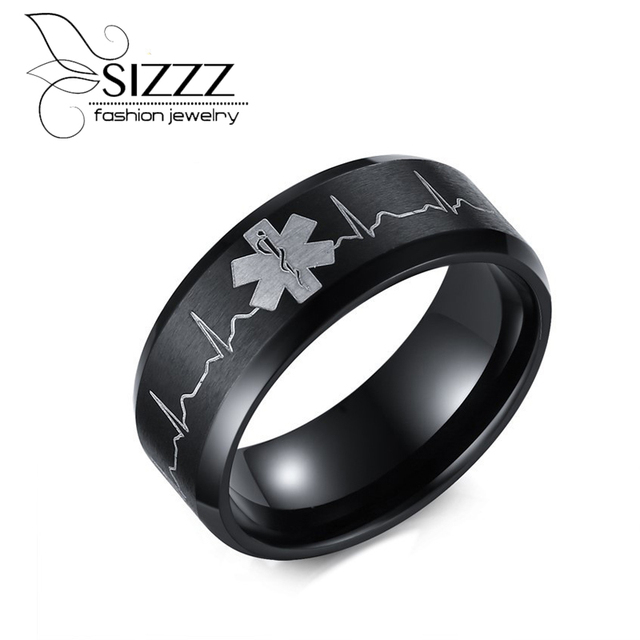 SIZZZ 8MM Men Stainless Steel Comfort Fit Ring Laser Engraved Heartbeat Medical