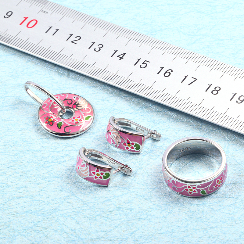 Wholesale Flower Enamel Silver Stud Earrings Pendant Ring Jewelry Sets Women 925 Silver Jewelry Set Wedding Engagement Jewelry (1)