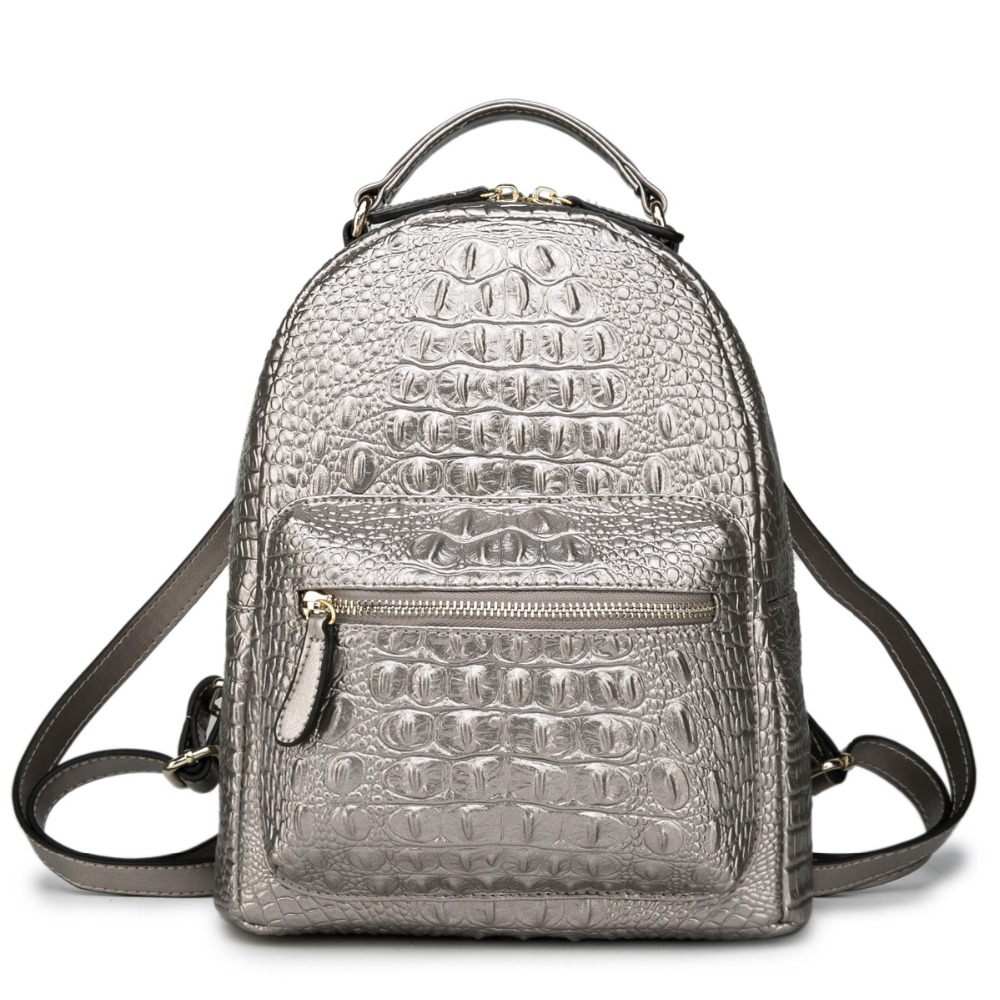 de309a9b190a Роскошный Серебряный женский рюкзак 100% натуральная кожа крокодил узор женский  ранец маленькая Элегантная Леди Сумка Рюкзак купить на AliExpress