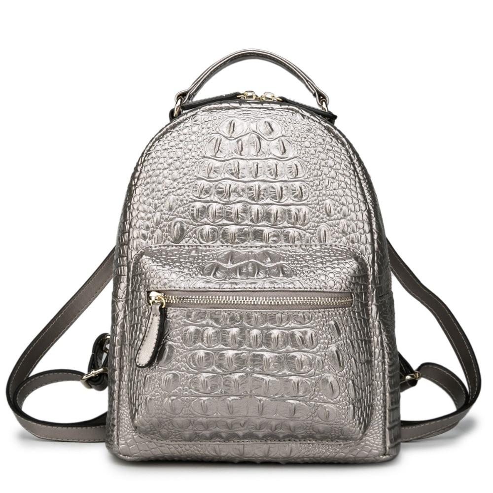 Luxe argent femmes sac à dos 100% en cuir véritable motif Crocodile femme sac à dos petite élégante dame sac à bandoulière sac à dos-in Sacs à dos from Baggages et sacs    1