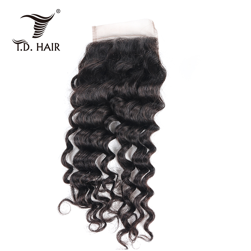 Tdhair Deep Wave 4*4 Lace Closure Free Middle Three Part  Brazilian Unprocessed Human Hair Lace Closure