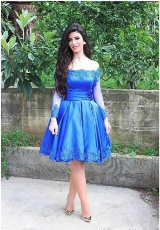 2018 Cocktail Dresses Blue Satin Long Sleeves  A-Line Prom Dresses Appliques Off Shoulder Knee Length Party Gowns