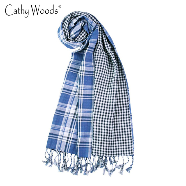 Blue and White Grid Plaid Scarf Spring Men/Women Inverno Warm Grid Trench Classic Sjaaltjes Soft Long Tassel Shawls and  Scarves