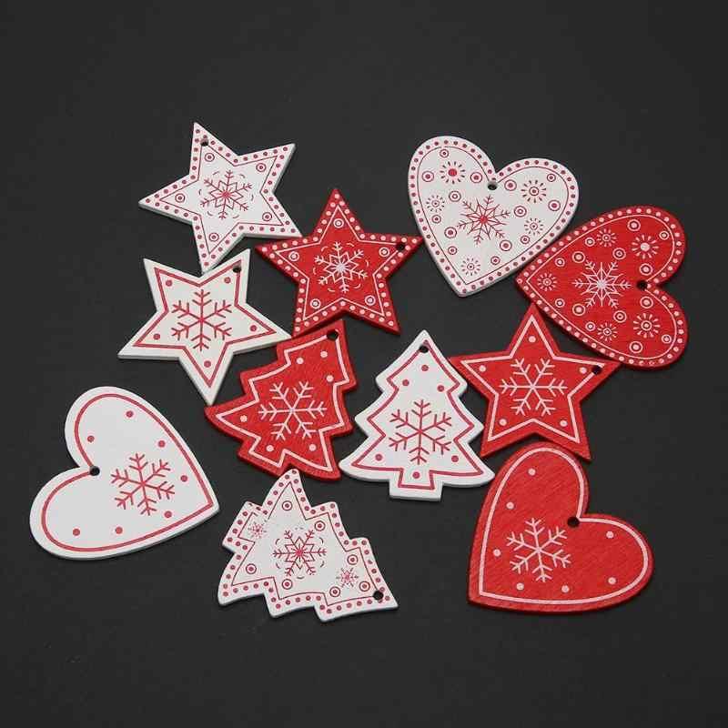 10 ピース/セットノエルクリスマスツリーオーナメント白赤出生木製ハンギングペンダント天使雪ベルヘラジカスタークリスマス装飾