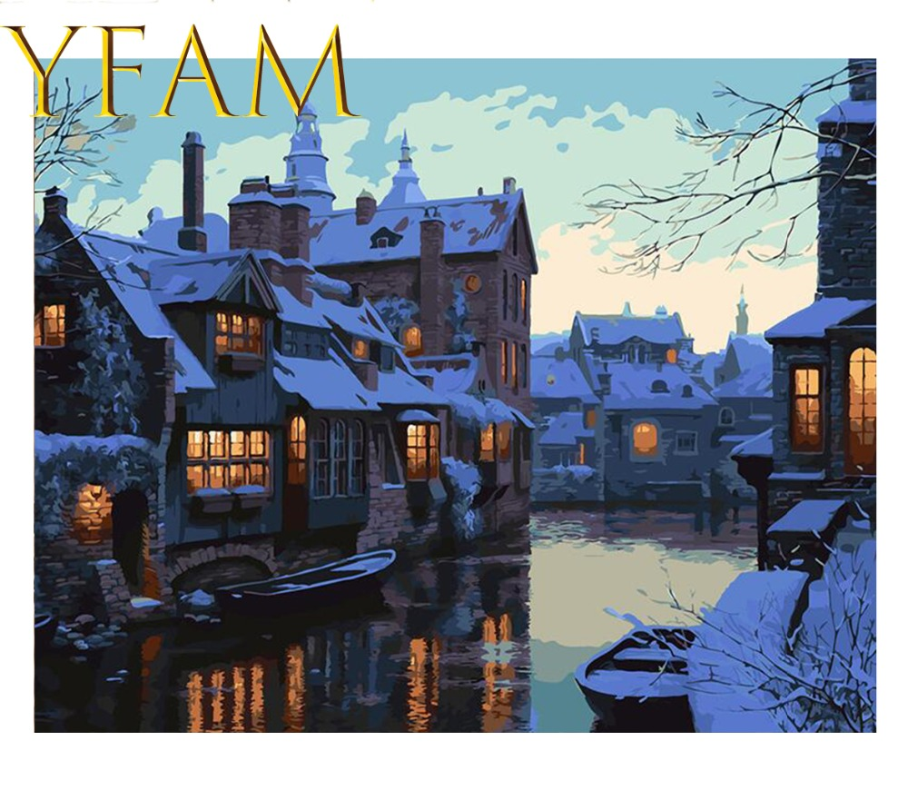 Snow Night Water Towns Painting By Numbers DIY Hand Paint Acrylic Drawing On Linen Canvas Modern Home Decor Wall Picture in Painting Calligraphy from Home Garden