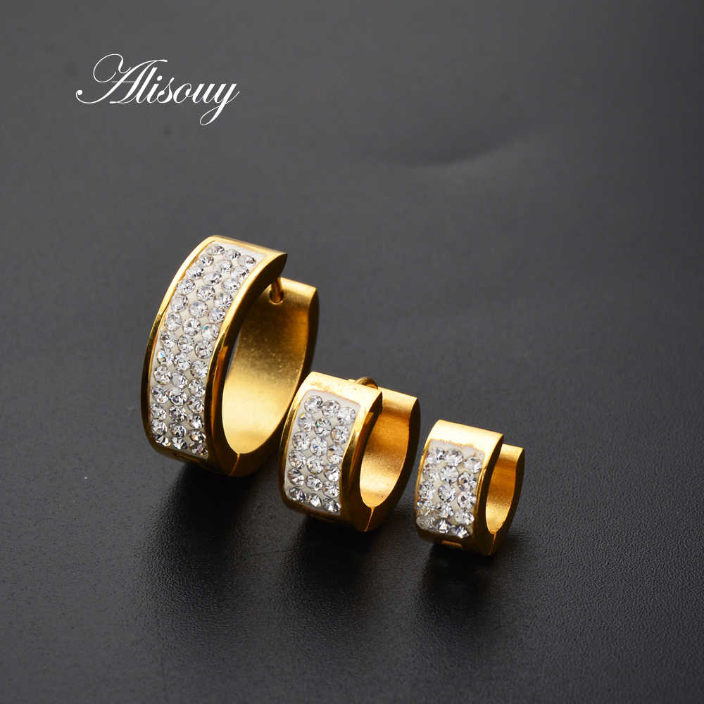 ae7c52a7d6 ... Alisouy 1 Pair Punk Men Women Stainless Steel Hoop Earrings With  Crystal CZ Gold Silver Round ...