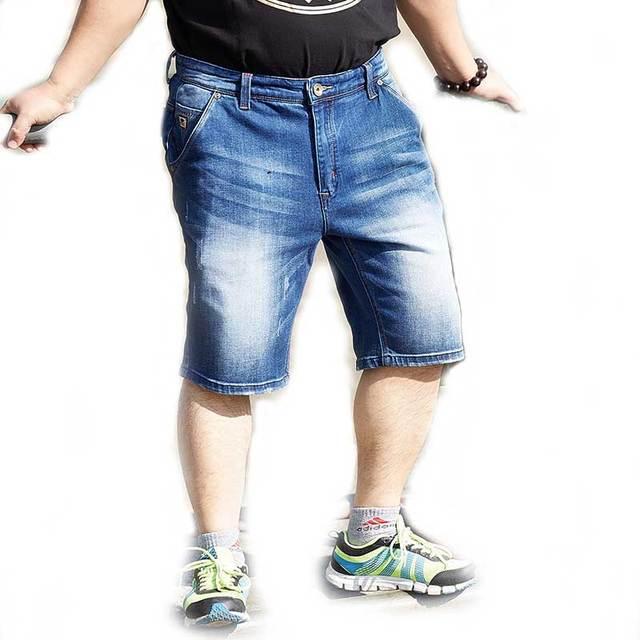 20207cdf4 Hombres Tallas grandes Loose Fit Pantalones Cortos de Mezclilla Tramo de  Cinco Bolsillos Rodilla Longitud Pantalones