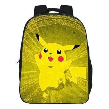 Fashion Multi Size Optional Black Printing Cartoon Pokemon Pikachu Kids Backpacks for Children School Bags Boys Student Book bag