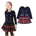 2016 bebés Novos vestir primavera xadrez outono escola roupas vestido de princesa de algodão completo manga crianças do miúdo desgaste Livre grátis