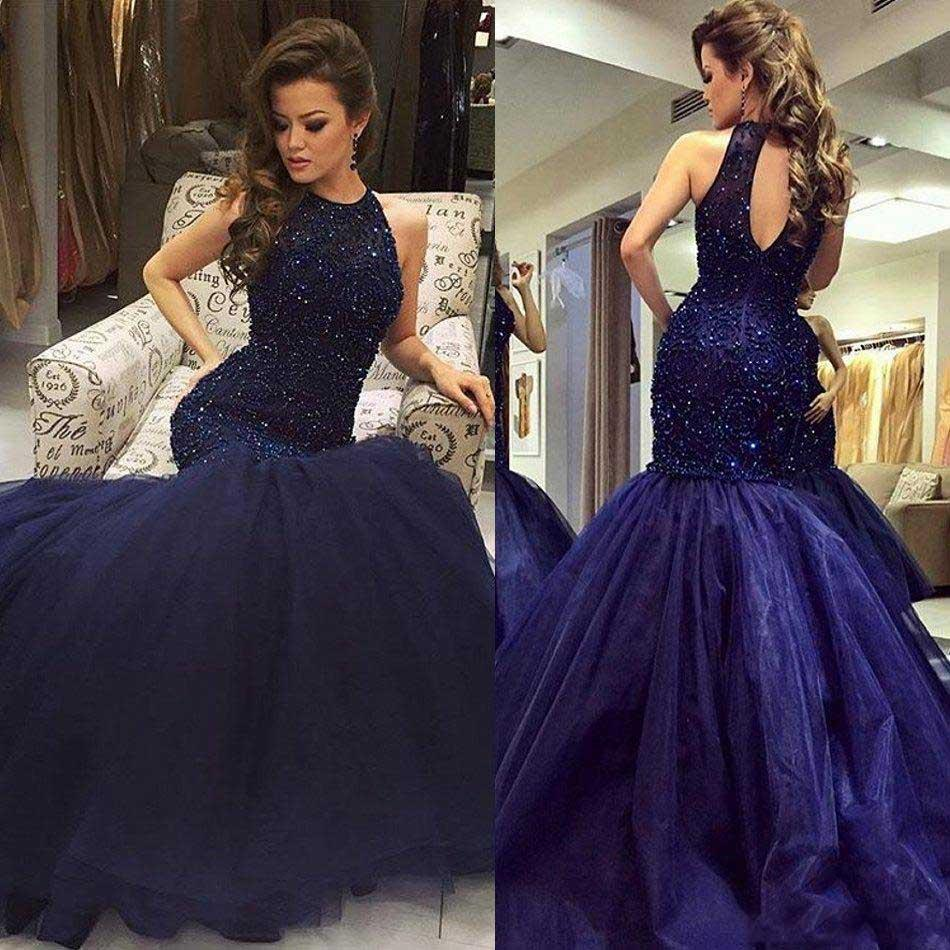b6c6d764ec9ce 2017 Navy Major Beading Elegant Mermaid Prom Dresses Vestidos De Fiesta  Halter Neck Keyhole Back Fitted Evening Party Gowns Rece