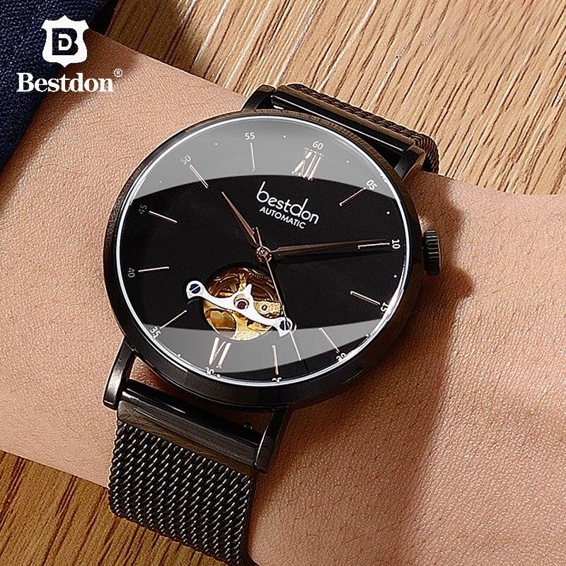 Bestdon Sapphire Crystal Men's Watch Skeleton Japan Imported Automatic Mechanical Movement Fashion Slim Dial Luxury Brand Man