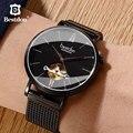 Bestdon safira relógio de cristal masculino esqueleto japão importado movimento mecânico automático moda dial fino marca luxo homem