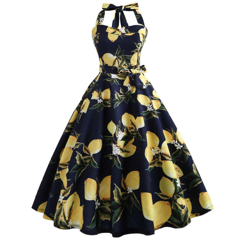 Halter Gaun Musim Panas Wanita 2018 Lemon Print Floral Sabuk Jubah Femme Gaun Elegan Vintage Retro Rockabilly Prom Party Dress
