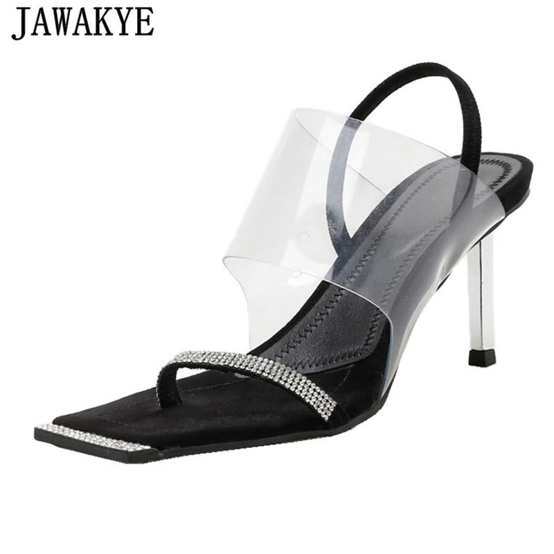 One strap crystal sandals women clear transparennt PVC band split toe high heels 2019 sexy diamond