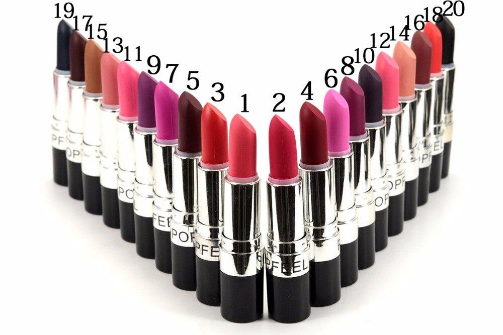 Dropship 20 Colors Makeup Matte Lipstick Popfeel Lipstick Waterproof Cosmetic Beauty Makeup Balm Long Lasting Lip
