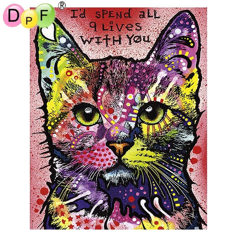 DPF diy diamond painting square full diamond embroidery cross stitch animal cat wall decoration painting