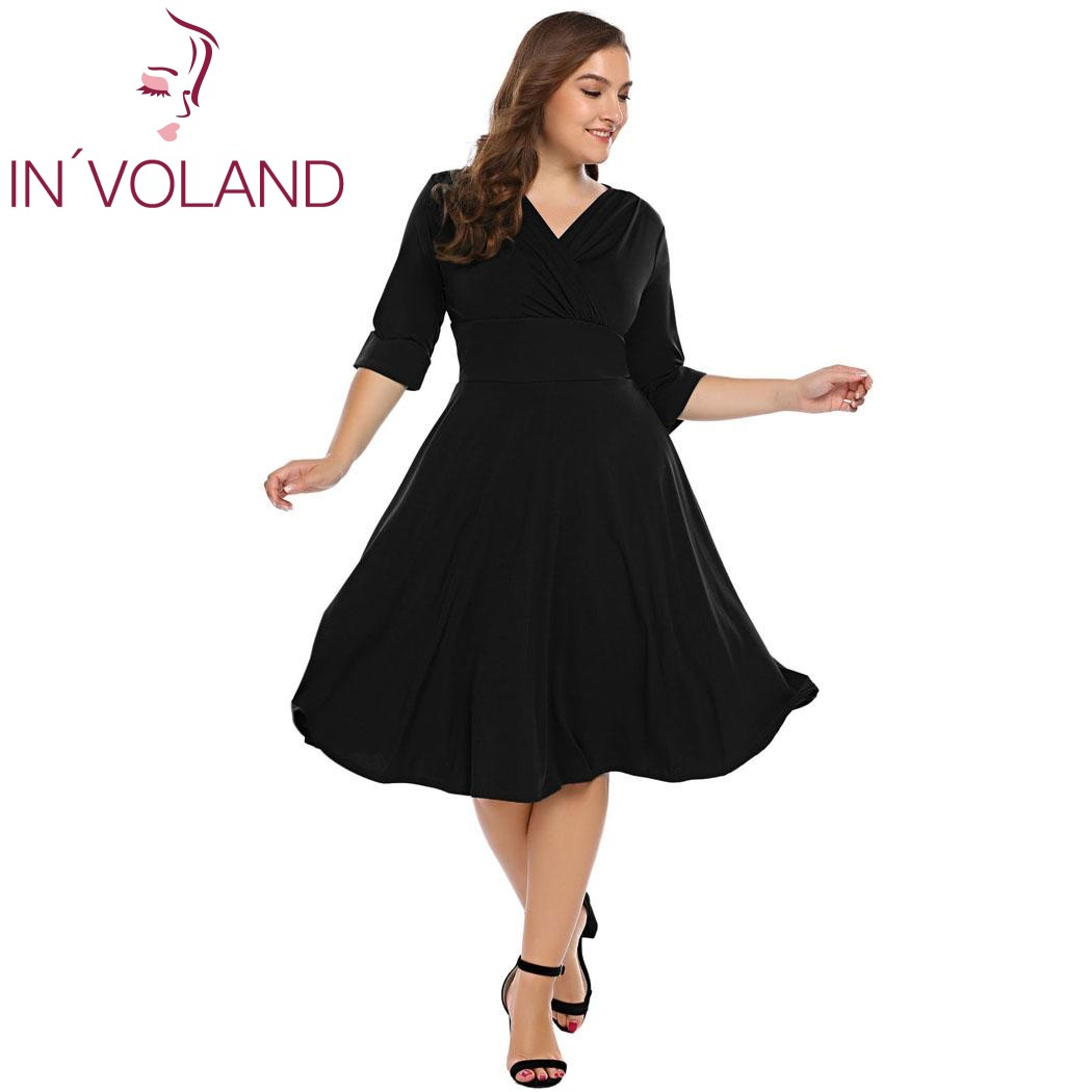 IN'VOLAND Women Vintage Dress Plus Size L-5XL Party Wrap Front V-Neck Half Sleeve Ruched Large Swing Dresses Vestidos Plus Size lc6181 2 ruched wrap midi dress black free size