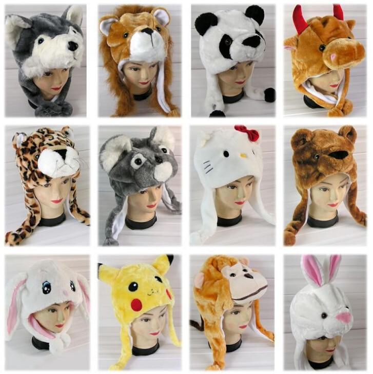 Adult Child General Paragraph Cartoon Plush Animal Hat Thermal Winter Ear Protector Cap Thickening Skullies & Beanies Headwear