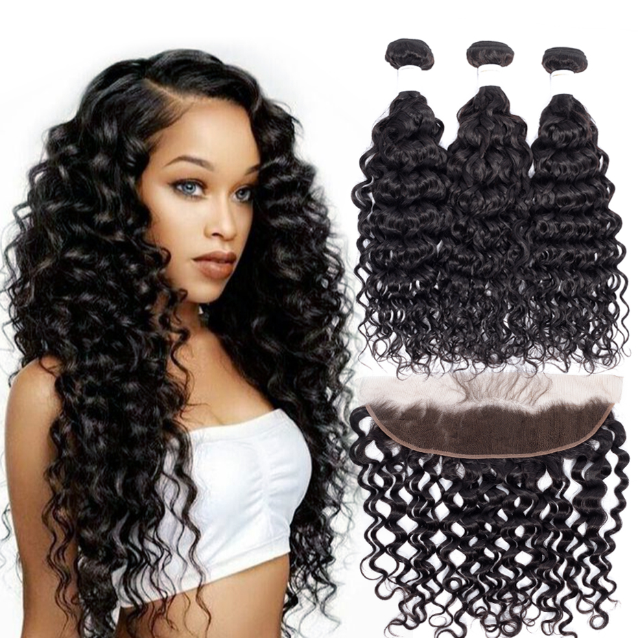 Jarin Hair Peruvian Loose Deep Wave Bundles With Closure 3 Bundles With Closure Remy Human Hair