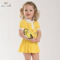 DB3938 dave bella summer baby teenis dress girls yellow sports dress kids polo dress fancy stylish clothes