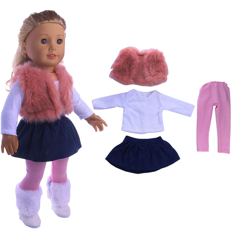 4 Pieces American Doll Clothes Winter Vest T-shirt Dress Tights Suit for 43 cm Dolls and 18-Inch Doll Toy Accessories