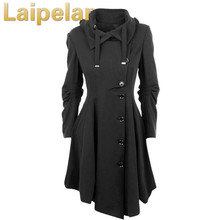 2018 Fashion Long Medieval Trench Woolen Coat Women Winter Black Stand Collar Gothic Overcoat Elegant Women Coat Vintage Female