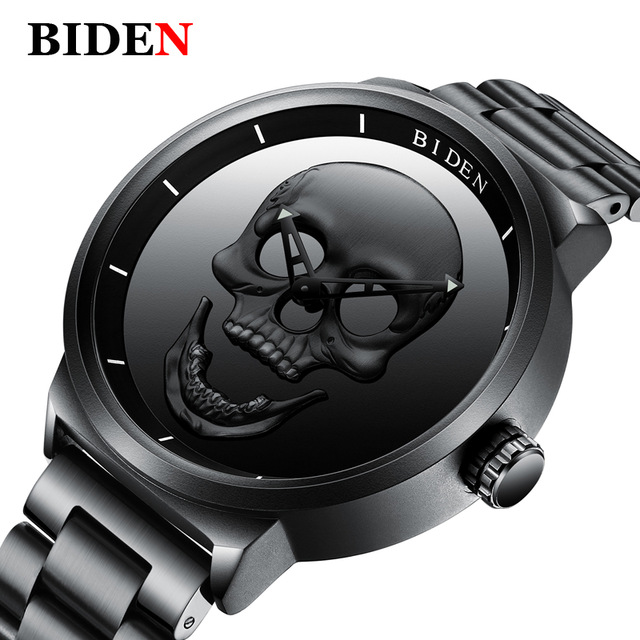 BIDEN Luxury Brand Unique Skull Dial Men Sport Watch Stainless Steel Mesh Band Waterproof Clock Relogio Masculino