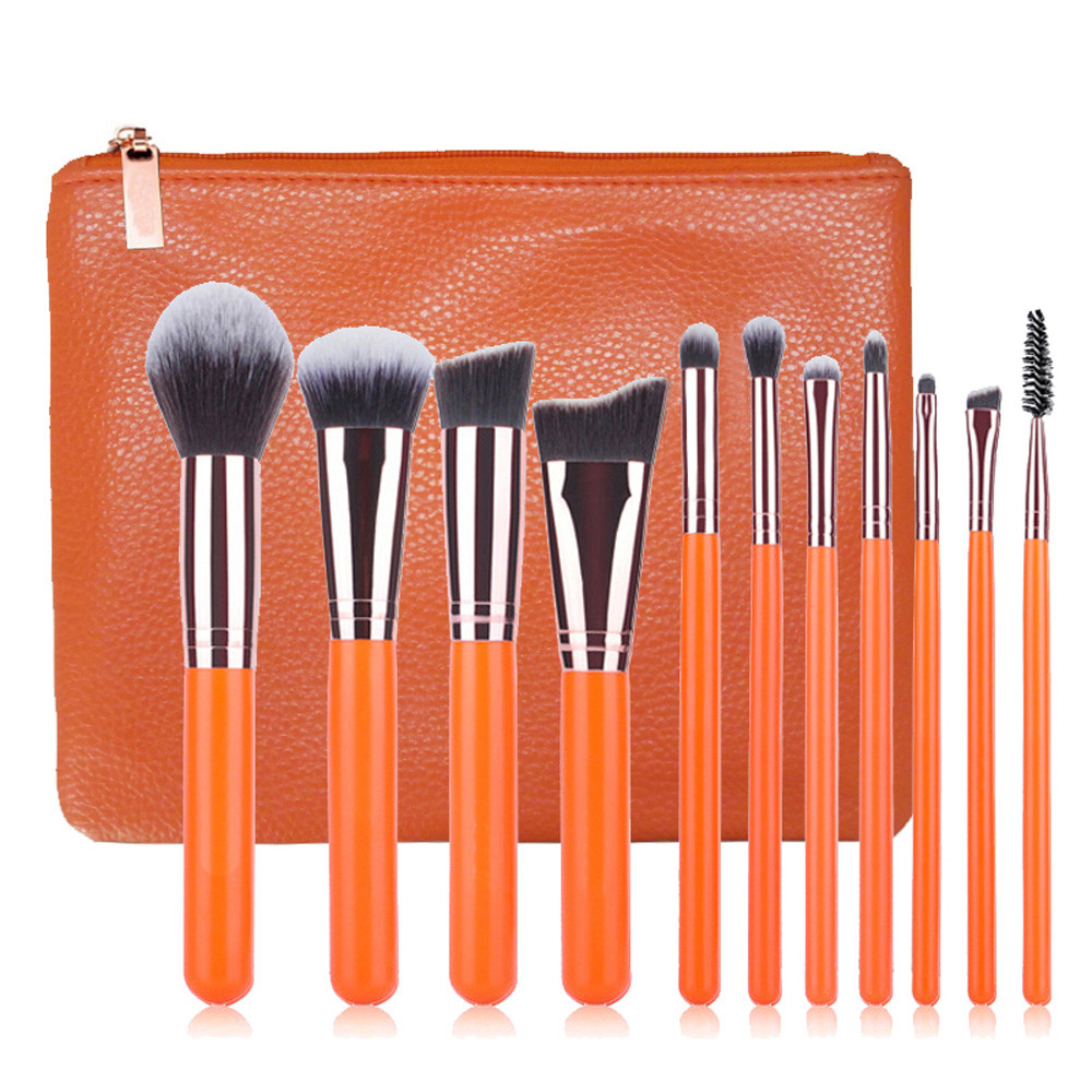 Hot! New 11PCS Orange Make Up Foundation Eyebrow Eyeliner Blush Cosmetic Concealer Brushes Cosmetic Beauty Tool With Bag se15 2017 new 24pcs mini make up foundation eyebrow eyeliner blush cosmetic concealer brushes beauty drop shipping sep25