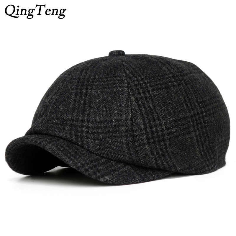 c27ede82f64 Vintage Retro Hat British Style Men S Plaid Beret Caps Fashion Octagonal Cap  Casual Newsboy Cap Wool
