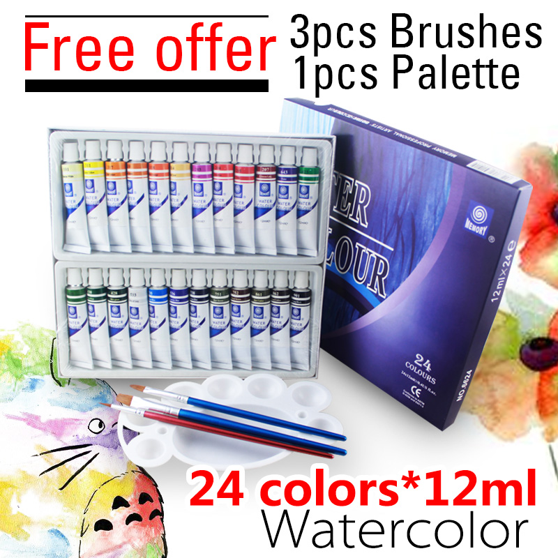 Memory 24 Colors Professional Water Color Paints Artists Watercolor Painting Pigment Watercolors Set For Drawing New