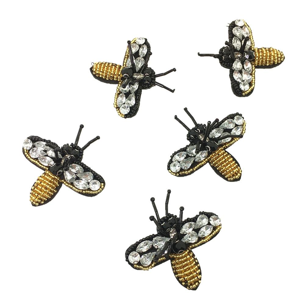 20ks Crystal Beaded Bee Beetle Patch Collor Applique Sew On Patches for Clothing Vyšívané balíčky Bordados Ropa AC0779