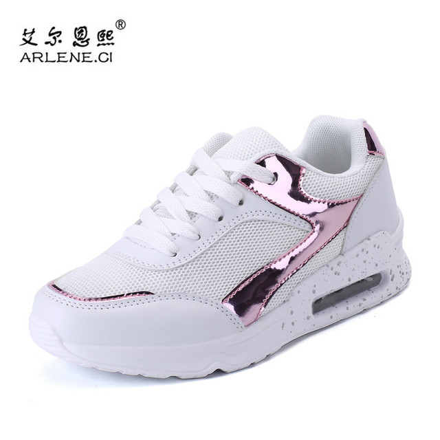 Womens Wedge Heel Sneakers Breathable Athletic  Lace up Running Sport Shoes