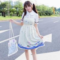 2017 Spring Fashion Brand Japanese Cute Girl Lolita Rabbit Cup Pattern Printed Lolita Dress Harness Cute