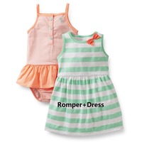 D2-003,Original, Baby Girls Cute Sets,2-Piece per Pack, Romper and Dress, for Summer Season, Super Quality, Free Shipping