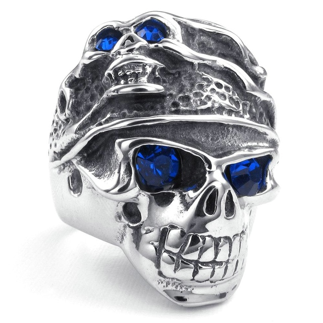 NEW Hot Selling Fashion Titanium Stainless steel Classic Retro Skull Men's Blue Zircon Ring US 7-13 FREE SHIPPING