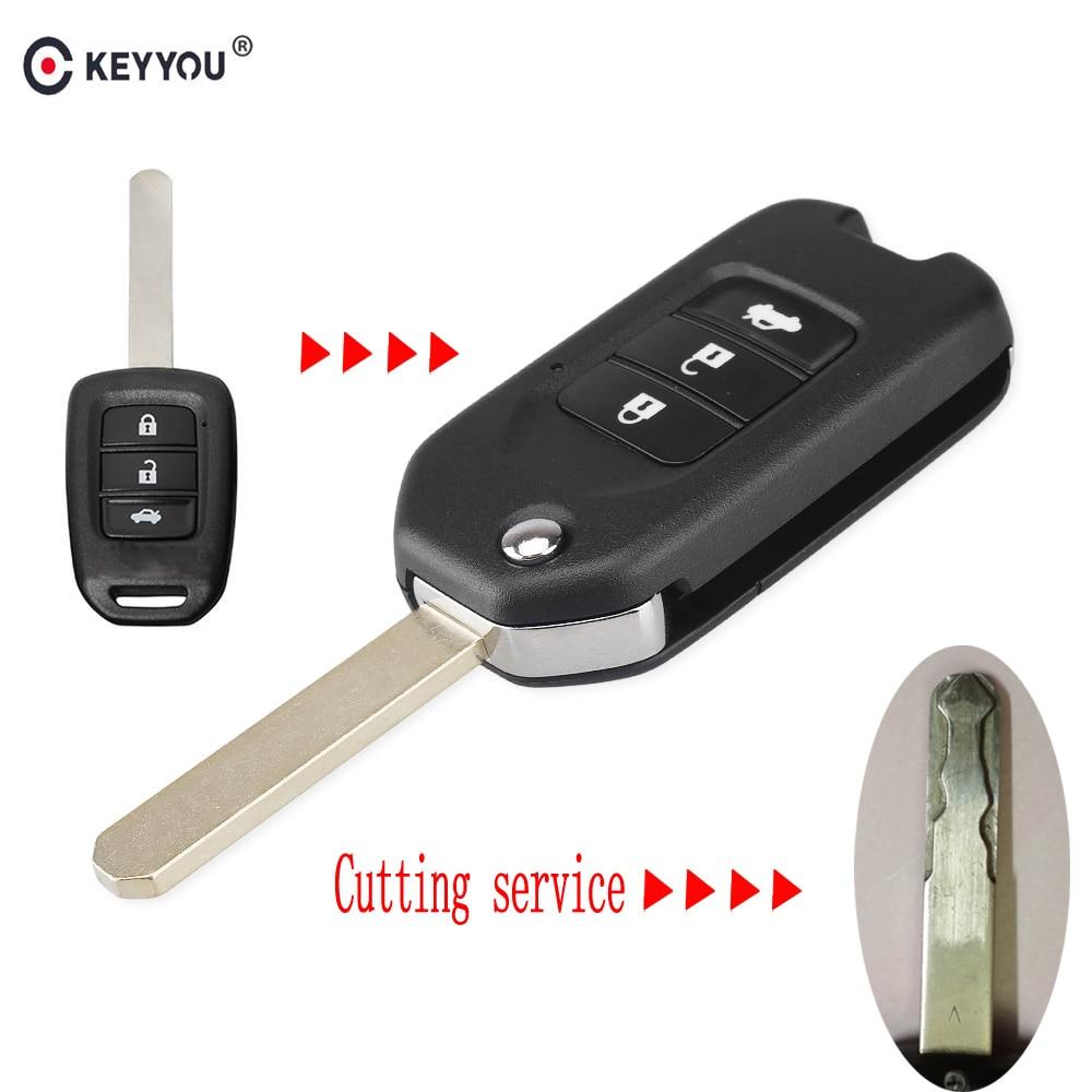 Chiave Telecomando per Honda FIT XRV VEZEL CITY JAZZ CIVIC HRV 3 Tasti Modified Flip Remote Key Shell Case Fob