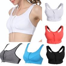Plus Size Women Sports Bra Zipper Front Padded Push Up Fitness Shockproof Gym Running Tops Bra