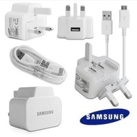 GENUINE SAMSUNG MAINS USB WALL CHARGER DATA CABLE FOR GALAXY S4 S2 S3 S5 NOTE 2