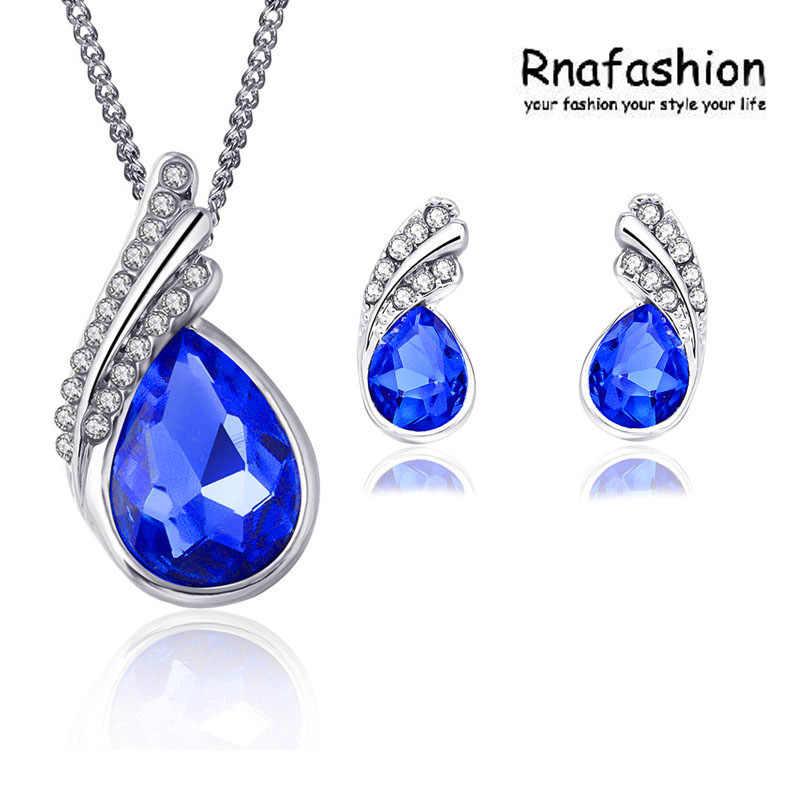Mode-accessoires Mädchen zubehör set kristall halskette ohrringe kristall schmuck sets 006