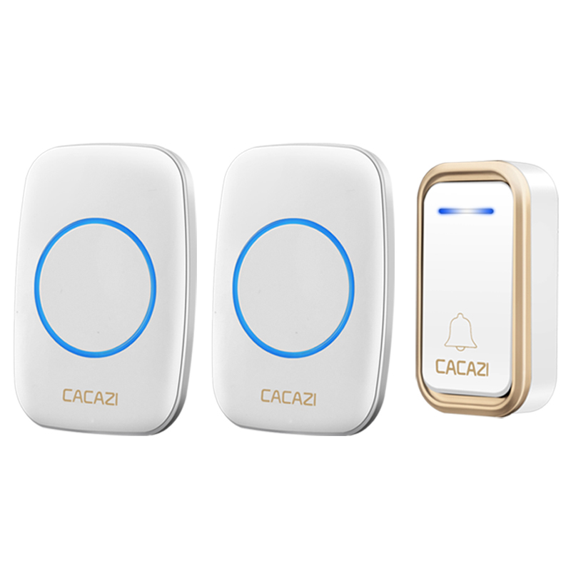 CACAZI New A10F Wireless Doorbell Wall Plug-in Cordless Waterproof Home Door Bell Chime 300M Range with 38 Chimes Easy Install ts k108w12 wireless doorbell portable digital cordless door bell kit waterproof 1000ft 300m range with plug in receivers